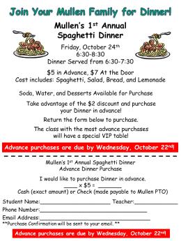 Mullen`s 1 st Annual Spaghetti Dinner