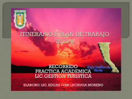 ITINERARIO Y PLAN DE TRABAJO