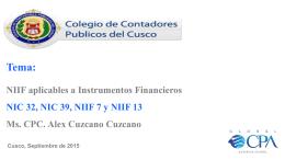NIIF Aplicables a Instrumentos Financieros