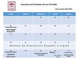 OCTUBRE Preescolar Cronograma 2014