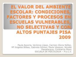EL VALOR DEL AMBIENTE ESCOLAR: CONDICIONES