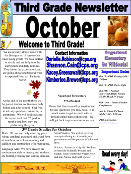 3 rd Grade Studies for October Important Dates