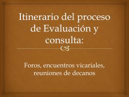 Itinerario del proceso de Evaluación y consulta: