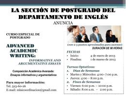 la sección de postgrado del departamento de inglés