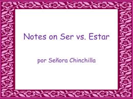 Notes on Ser vs. Estar