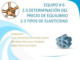 EQUIPO # 6 2.3 DETERMINACIÓN DEL PRECIO DE EQUILIBRIO