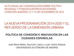 política de cohesión e innovación en las ciudades españolas