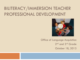 Biliteracy/Immersion Teacher Professional