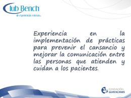 Experiencia en la implementación de prácticas para prevenir el
