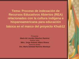Tema: Proceso de indexación de Recursos Educativos Abiertos (REA)