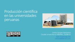 Producción científica en las universidades peruanas