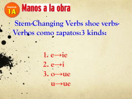Stem-Changing Verbs shoe verbs- Verbos como zapatos:3 kinds: 1