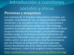 Introducción a cuestiones sociales y éticas Personas y máquinas