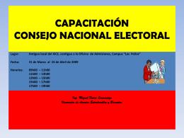 CAPACITACIÓN CONSEJO NACIONAL ELECTORAL