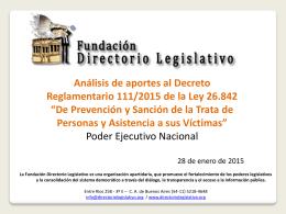 Decreto Reglamentario 111/2015 de la Ley 26.842