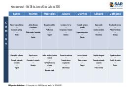 Menú mes de julio 2015 SARquavitae Valdeolivas