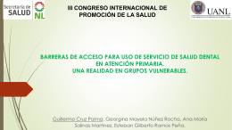 Barreras de acceso para uso de servicio de salud dental en