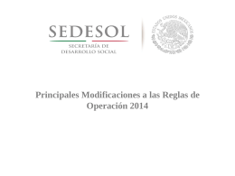 Modificaciones a las Reglas de Operación 2014