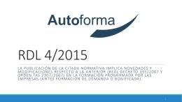 Presentación en Powerpoint de Masterclass RDL 4/2015 Autoforma