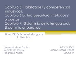 Informe Oral Capítulo 5: Habilidades y competencias lingüísticas