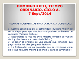 DOMINGO XXIII, TIEMPO ORDINARIO, CICLO A. 7 Sept/2014