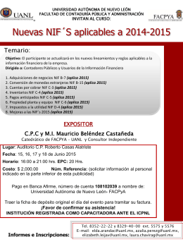 NIF 2015 - Facultad de Contaduría Pública y Administración