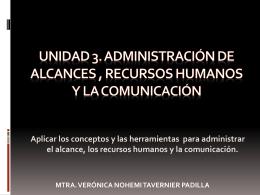 UNIDAD III. ALCANCE-RECURSOS HUMANOS Y COMUNICACION