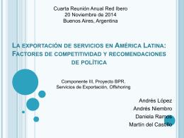 La exportación de servicios en América Latina: Factores