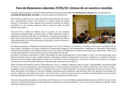 Foro de Relaciones Laborales 27/01/15: Crónica de un evento a