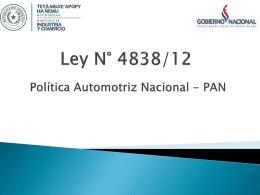 PAN * Ley N° 4838/12 - Portal da Indústria