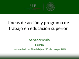 Líneas de política pública en Educación Superior