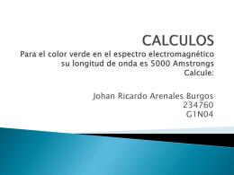 CALCULOS Para el color verde en el espectro electromagnético su