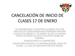 CANCELACIÓN DE INICIO DE CLASES 17 DE ENERO