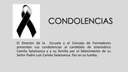 Condolencias Camilo Salamanca