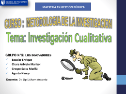 Investigación Cualitativa - Maestria en Gestión Pública UCV
