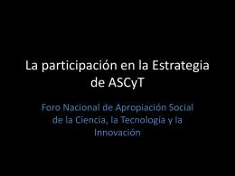 Participación - Ciencia y Tecnología