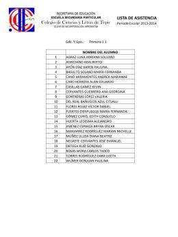 lista de asistencia - Colegio de Ciencias y Letras de Tepic