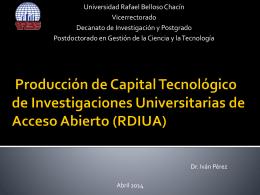 Producción de Capital Tecnológico de Investigaciones