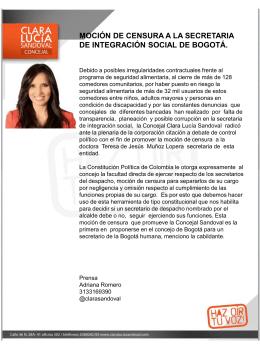 Comunicado de Prensa Concejala Clara Lucía
