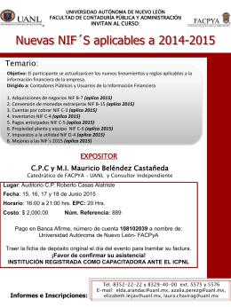 Nuevas NIF´S aplicables a 2014-2015