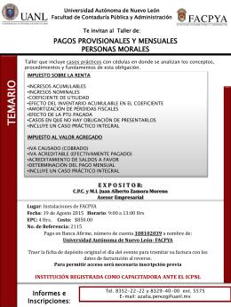 Pagos Provisionales y Mensuales - Facultad de Contaduría Pública