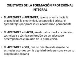 objetivos de la formación profesional integral