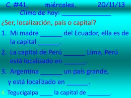 C. #41, miércoles, 20/11/13 Clima de hoy
