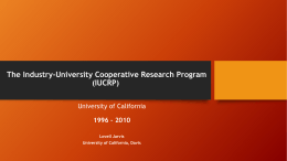 The Industry-University Cooperative Research Program (IUCRP)