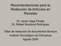 Articulos en revistas cientificas - Instituto Tecnológico de Chihuahua