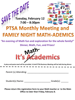 An evening of Math fun and exploration for the whole family!