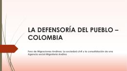 la defensoría del pueblo * colombia
