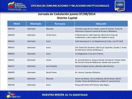 Jornada de Cedulación Jueves 07/08/2014