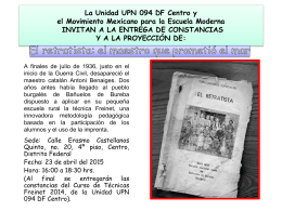 La Unidad UPN 094 DF Centro y el Movimiento Mexicano para la