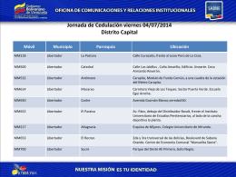 Jornada de Cedulación viernes 04/07/2014